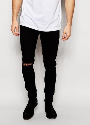 Черные плотные мужские брюки джинсы слим фит с разрезом на колене батал большой штаны