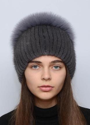 Женская зимняя норковая шапка шарик-бубон,разрез,большой(с песцом) ирис