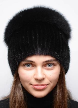 Женская зимняя норковая шапка шарик-бубон,разрез,большой(с песцом) черный