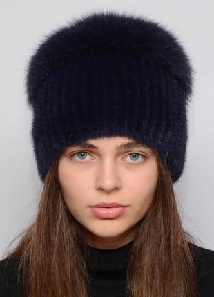 Женская зимняя норковая шапка шарик-бубон,разрез,большой(с песцом) тёмно синий