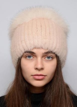 Женская зимняя норковая шапка шарик-бубон,разрез,большой(с песцом) жемчуг