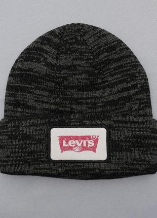 Мужская черная шапка levis beanie