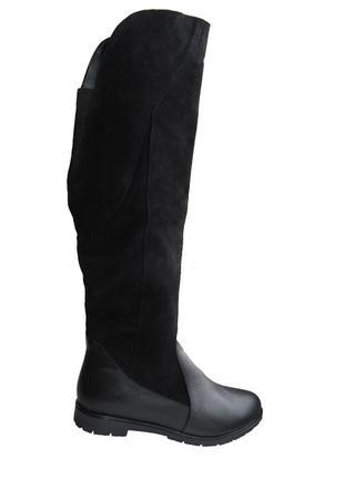 Шикарные  кожаные замшивые сапоги ботфорты замш