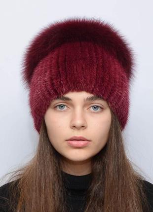 Женская зимняя норковая шапка шарик-бубон,разрез,большой(с песцом) марсал