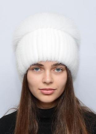 Женская зимняя норковая шапка шарик-бубон,разрез,большой(с песцом) белая