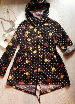 Черная парка куртка дождевик с капюшоном в цветочный принт ветровка большой размер
