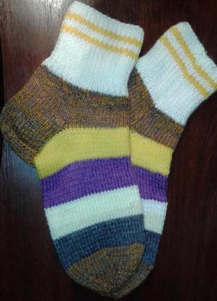 Шерстяные вязаные носки, авторский дизайн, ручная работа 39рр