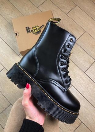 Dr. martens jadon black fur женские зимние ботинки мартинс чёрные с мехом зима