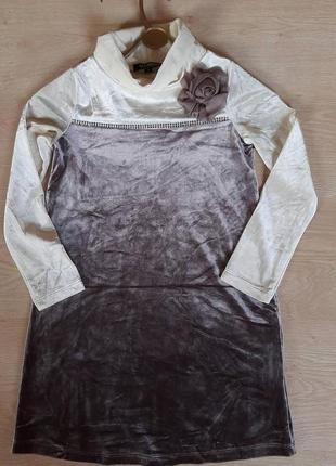 Нарядное бархатное платье для девочки 8 лет