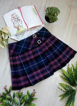 Теплая акриловая юбка на запах шотландская клетка в клетку на фотосессию новогоднюю