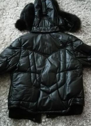 Зимняя кожаная куртка пуховик