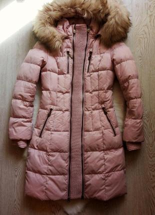Розовый длинный натуральный зимний беременным пуховик куртка натуральным мехом пух перо
