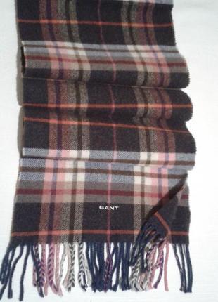 Шарф gant оригинал подписной тканый шерстяной шалик