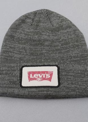 Мужская серая шапка levis beanie big logo