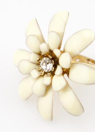 Кольцо цветок с эмалью, безразмерное