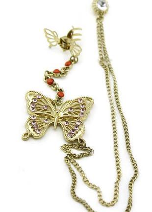 Необычное украшение серьги и заколка 2 в 1 кафф бабочка моносерьга