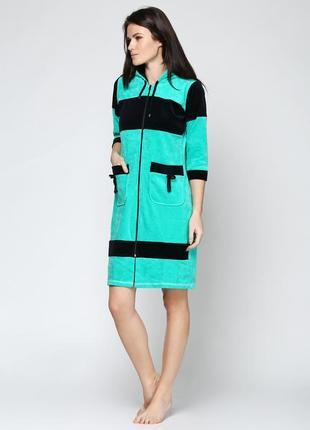 Халаты велюровые на молнии с капюшоном , размеры 44-54