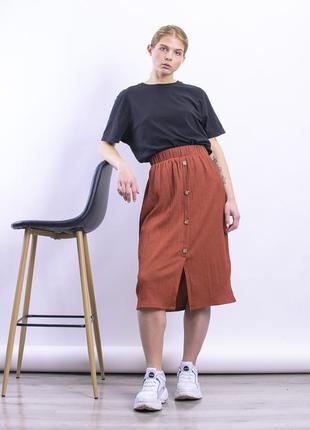Юбка миди коричневая, прямая юбка ниже колена7 фото