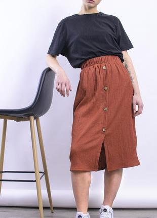 Юбка миди коричневая, прямая юбка ниже колена5 фото