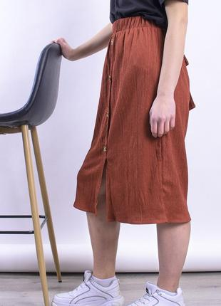 Юбка миди коричневая, прямая юбка ниже колена6 фото