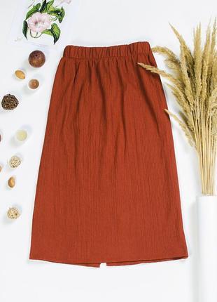 Юбка миди коричневая, прямая юбка ниже колена2 фото