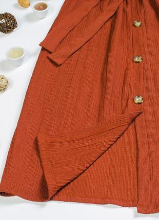 Юбка миди коричневая, прямая юбка ниже колена3 фото
