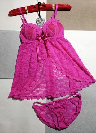 Ярко розовый кружевной комплект пеньюар +трусики, xs