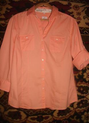 Блузка,рубашка персиковая milano italy