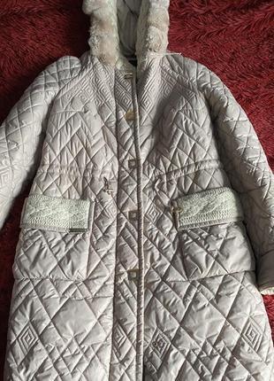 Стеганый пуховик - пальто