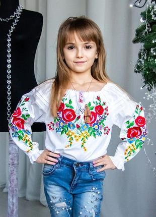 Шикарна вишиванка для дівчинки  в стилі бохо на 100% бавовні
