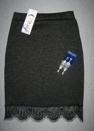 Разные.юбка с кружевом .ангора софт.размеры 40-58