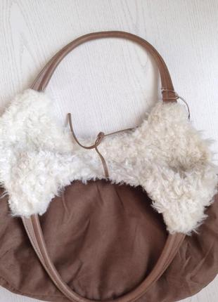 Трендовая большая меховая сумка с мехом