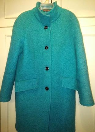 Стильное шерстяное пальто бирюзового цвета реглан 48 р.