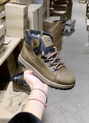 Подростковые кожаные зимние ботинки