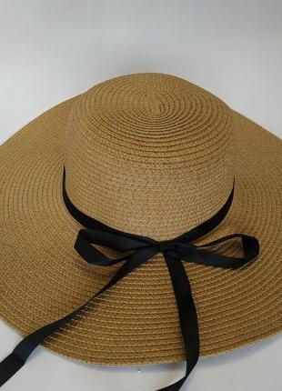 Пляжная летняя шляпа широкополая 12 см соломенная канотье хаки продам