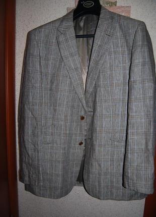 Льняной мужской пиджак в клетку 100 % лен