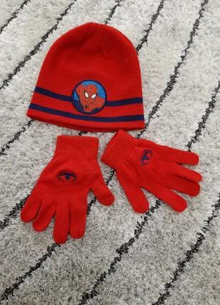 Шапка и рукавички spiderman