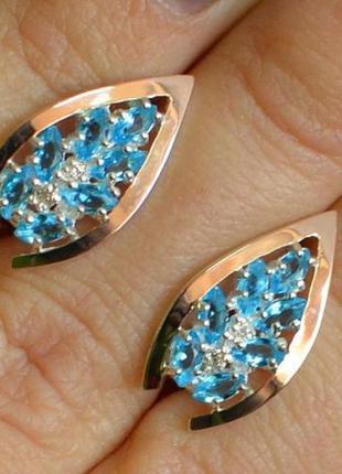 Серебряные серьги с золотыми вставками 172с2