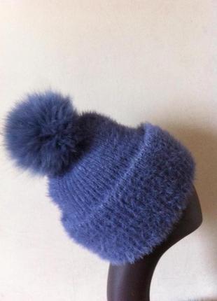 Красивая объемная теплая шапка