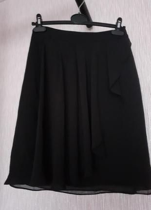Черная шифоновая юбка h&m