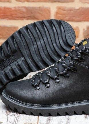 Кожаные мужские зимние ботинки caterpillar model -123
