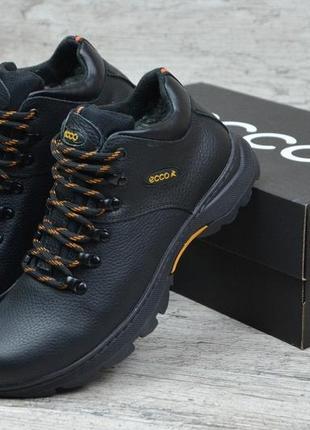 Кожаные мужские зимние ботинки ecco , черные