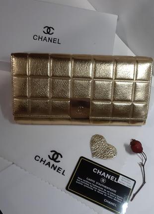 Роскошный кошелек 100% кожа chanel люкс золотой