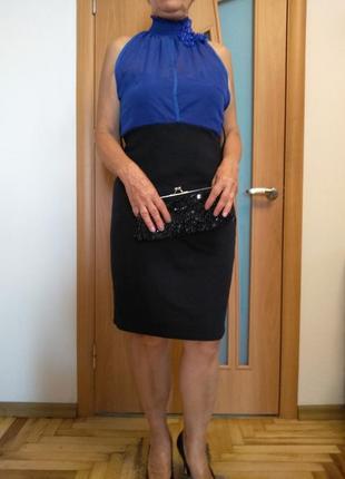 Красивое комбинированное платье. размер 16