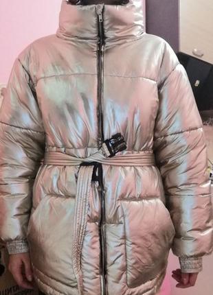 Пуховик куртка оверсайз с поясом зима