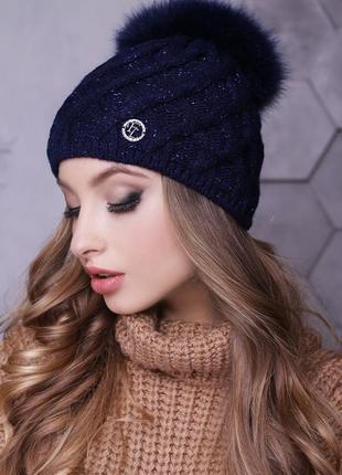 Зимняя шапка с песцом, синий
