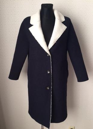 Классное шерстяное пальто (валяная шерсть) цвета индиго от zara, размер s