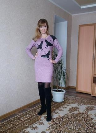 Тёплое платье с плонной ангоры 42р