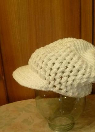 Краивый вязаный берет с козырьком осень-весна,женская кепка,шапка