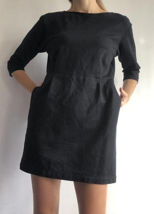 Чёрное тёплое трикотажное свободное платье